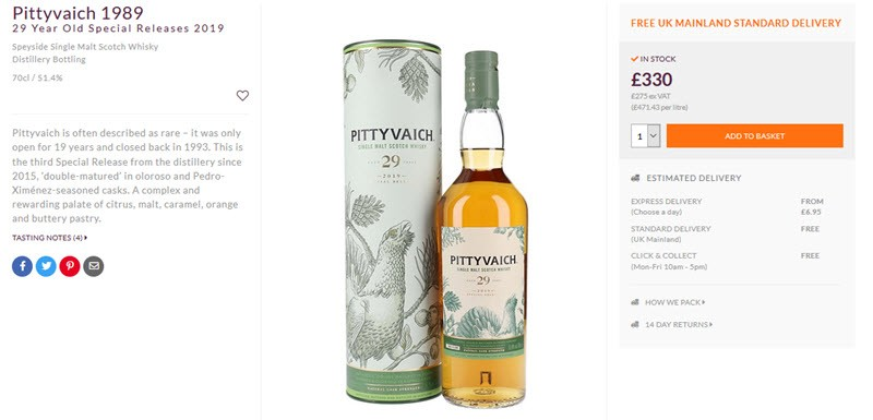 A bottle of Pittyvaich 1889 next to its case with a description and pricing details