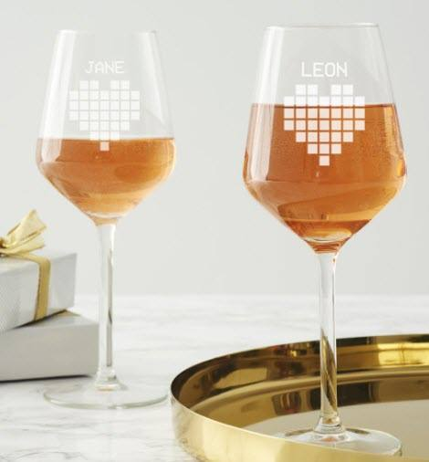 Wine glasses with a pixel love heart and names