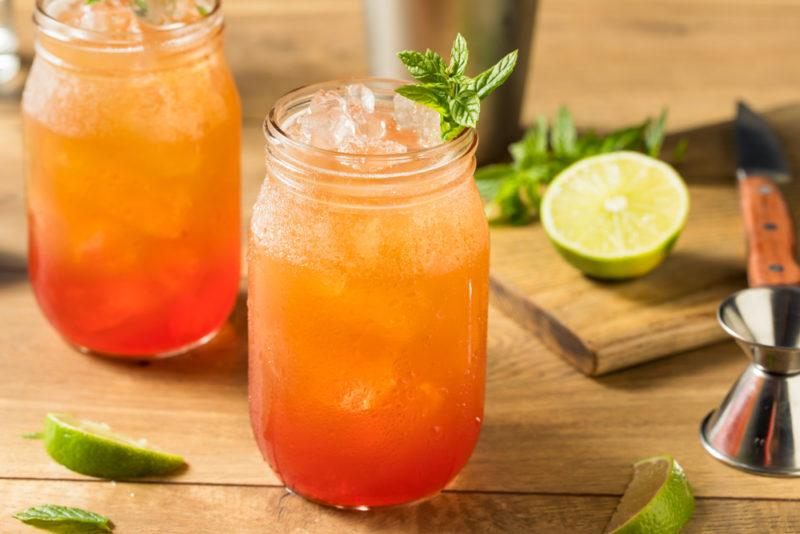 Two mason jars containing Planter's punch