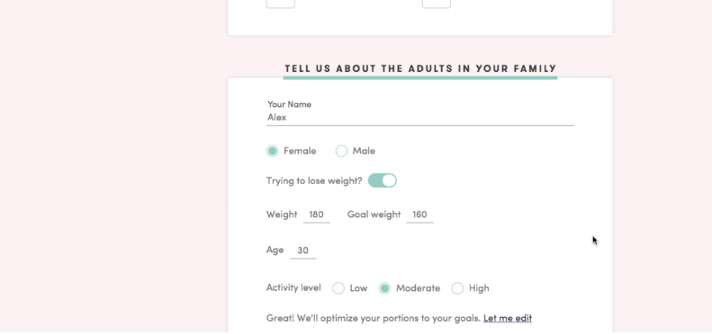 This is a screenshot of part of the form you fill out for the PlateJoy taste and preference profile.