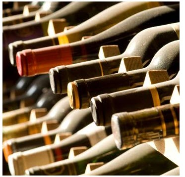A rack of wine bottles