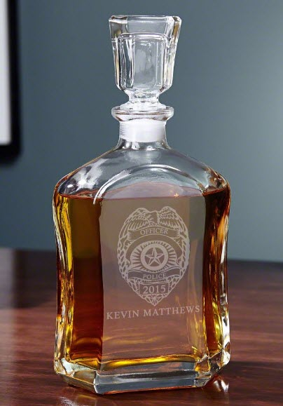 Engraved decanter with a police badge