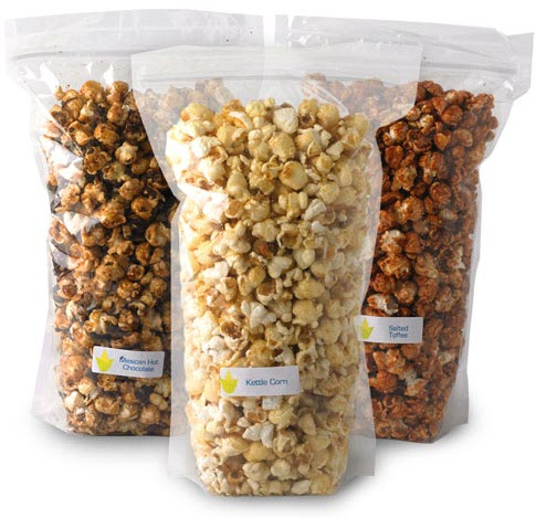 3 standing bags of popcorn