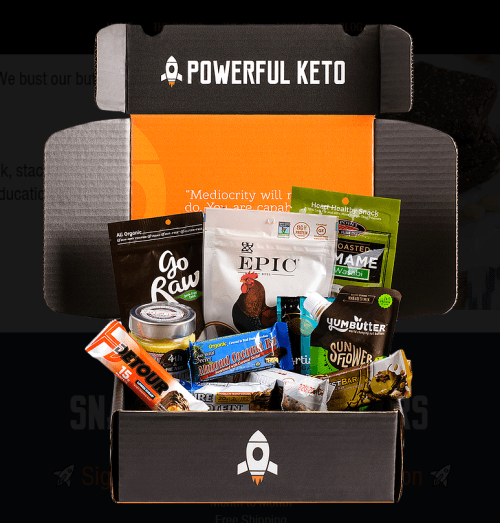 A black box against a black background, filled with various keto treats