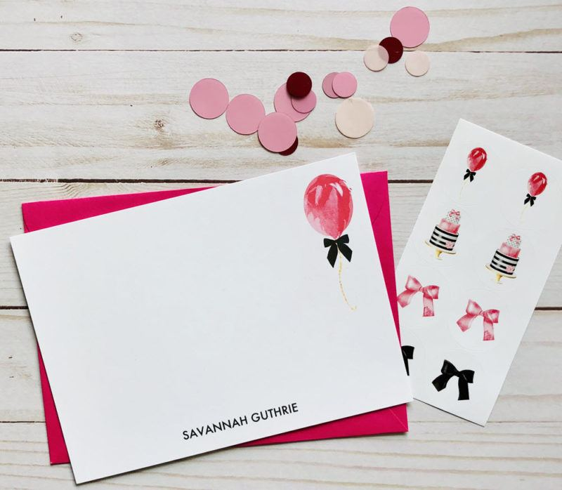 An example of a box from the Pretty Paper Club showing stickers and stationery