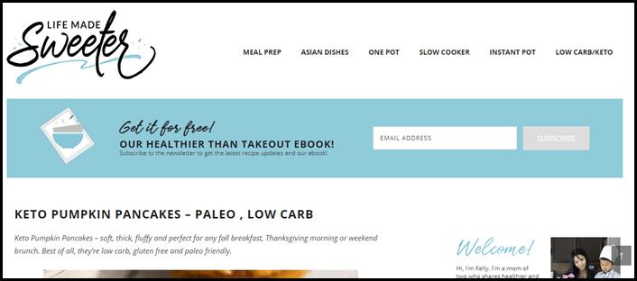 Website screenshot from Life Made Sweeter