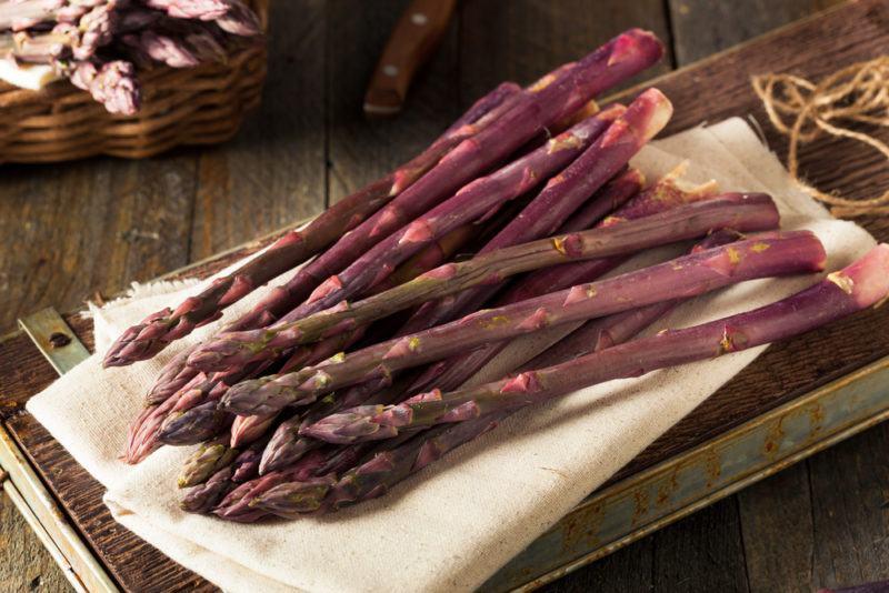 Purple Asparagus Spears on a table