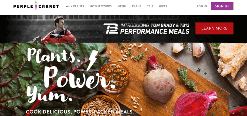 purple carrot vegetarian meal services website screenshots with pictures of beats, nuts, garlic, and kale
