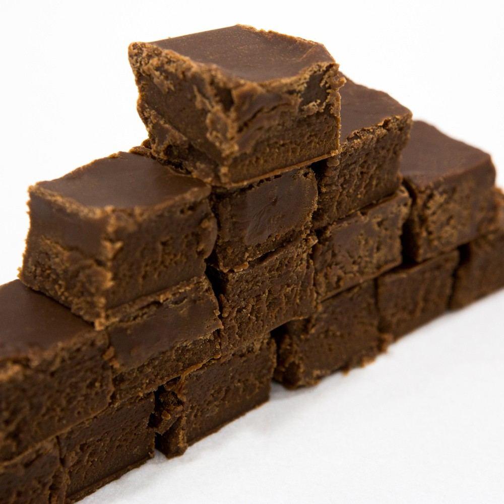 Pyramid of milk chocolate fudge 4 rows high