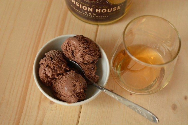 Quick Chocolate and Whiskey Ice Cream
