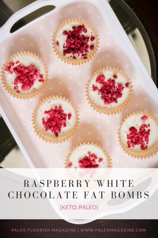 Fat bombs with raspberry and white chocolate