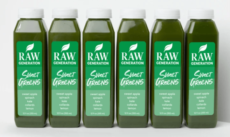 6 Bottles of Green juice Raw Generation that says Sweet Greens.