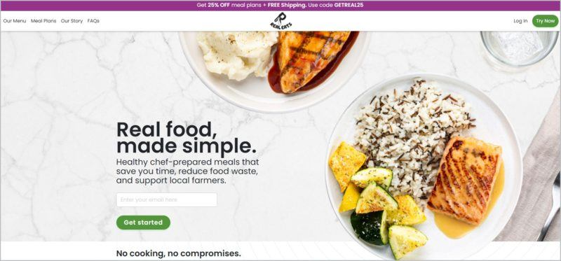 screenshot of RealEats homepage with top view images of a couple of beautifully plated dishes