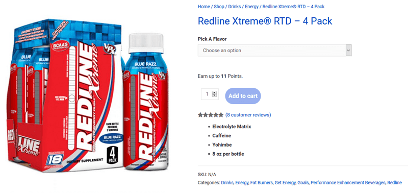 A website screenshot for Redline Xtreme Energy Drink