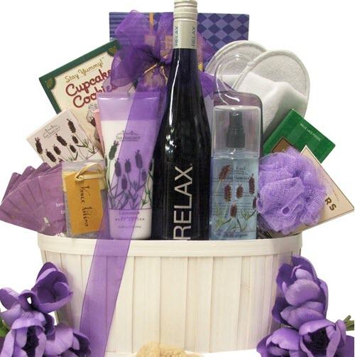 Light basket with a lavender theme