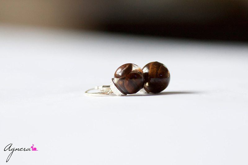 Resin Coffee Bean Silver Earrings