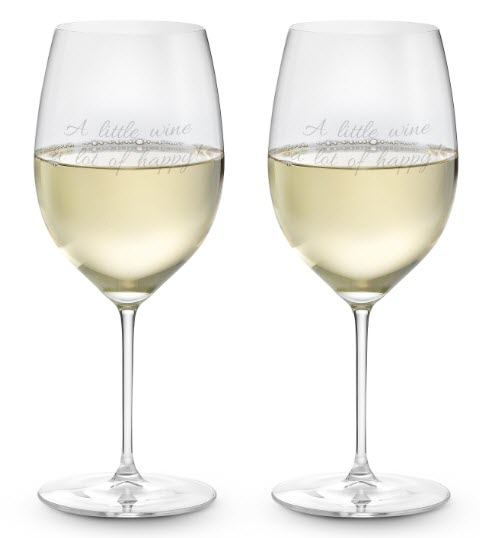 A set of two white wine glasses with a custom engraving