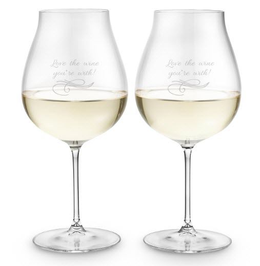 Pair of bell-shaped white wine glasses