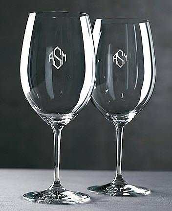 Shiny wine glasses with a diamond-like engraving