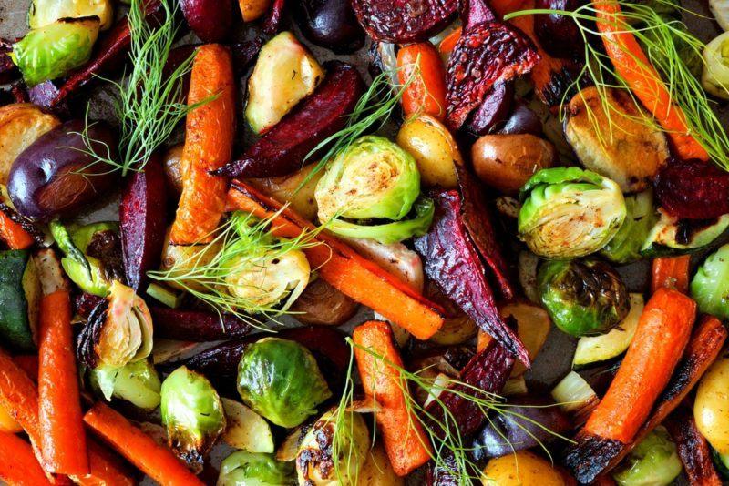 A sheet pan of roast vegetables