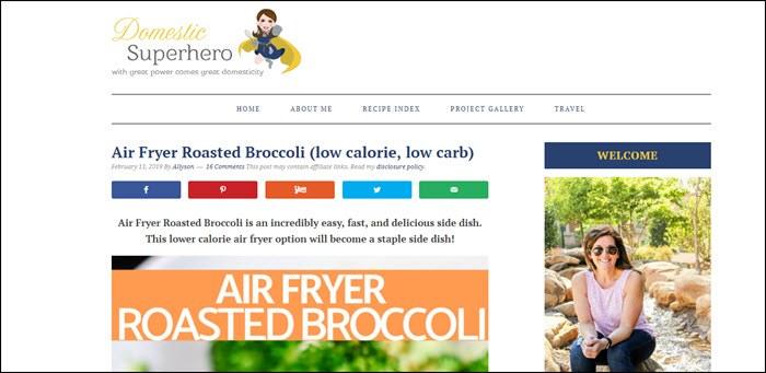 Website screenshot from Domestic Superhero