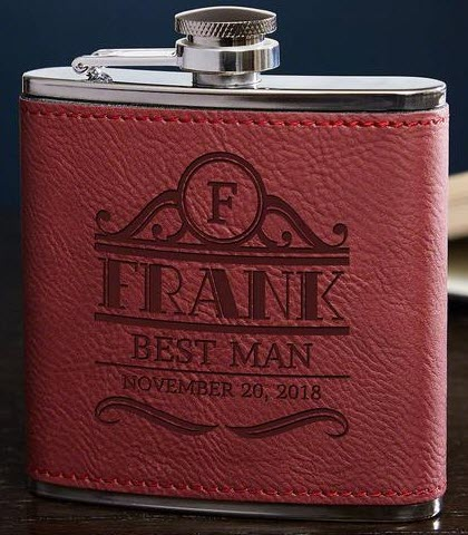 Red leather flask with text engraving
