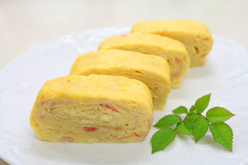 Four rolled omelettes
