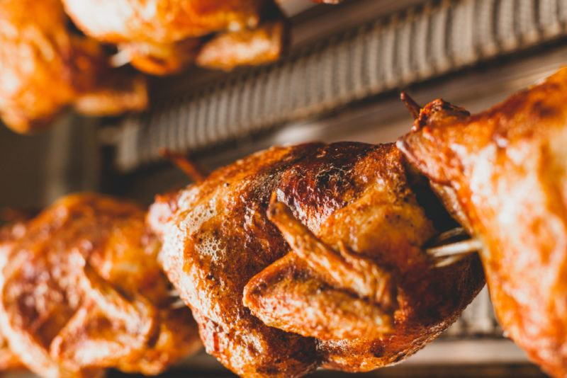 Chickens on a rotisserie