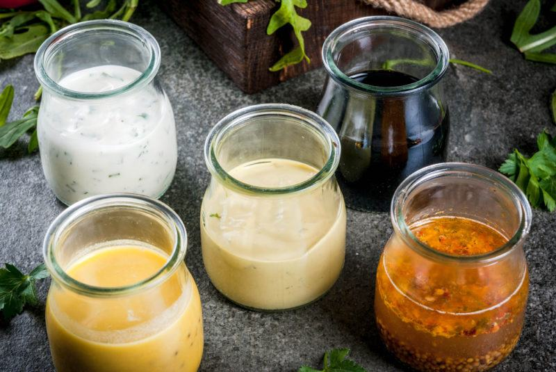 Five jars of salad dressing