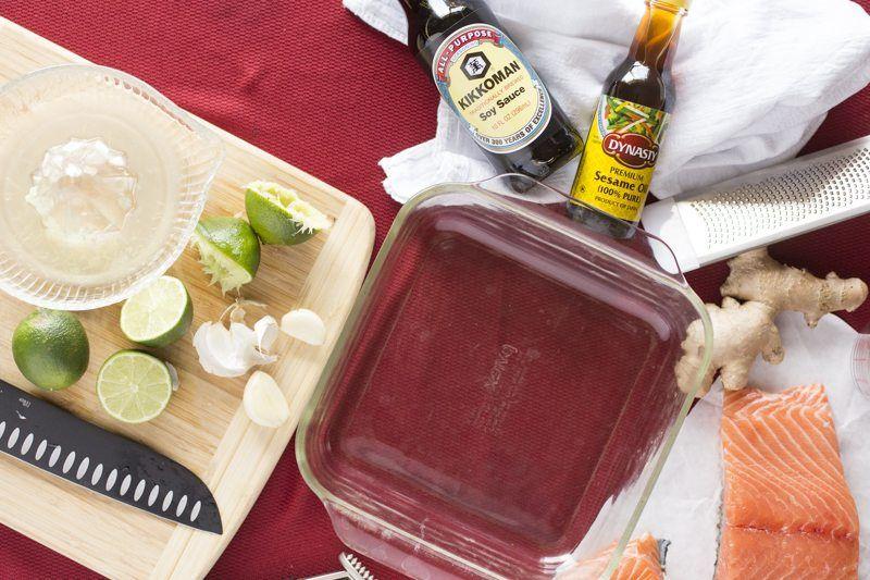 Salmon Asian Marinade Ingredients Pan Knife Limes Ginger