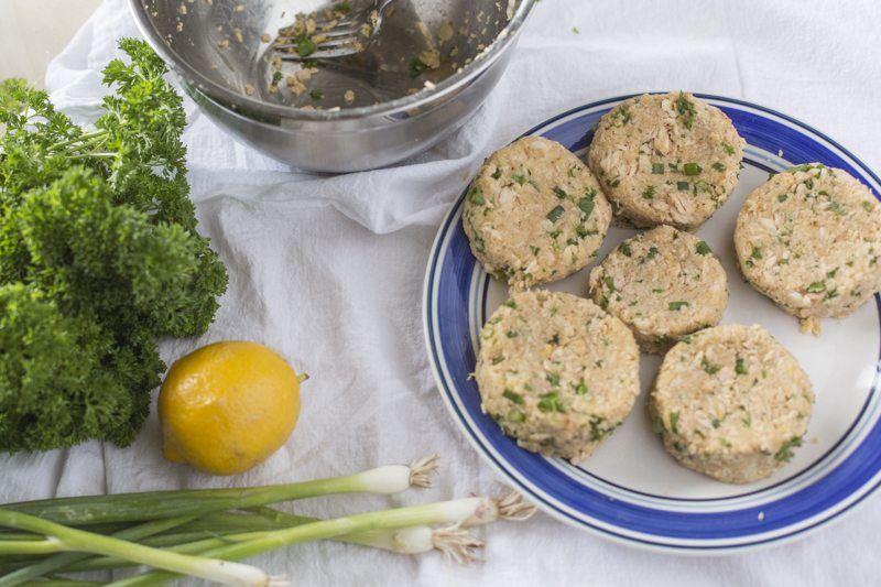 Salmon Cakes Lemon Round Plate Raw Uncooked