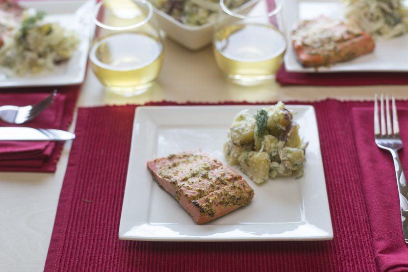 Salmon-Potato-Salad-Dinner-Table-Wine