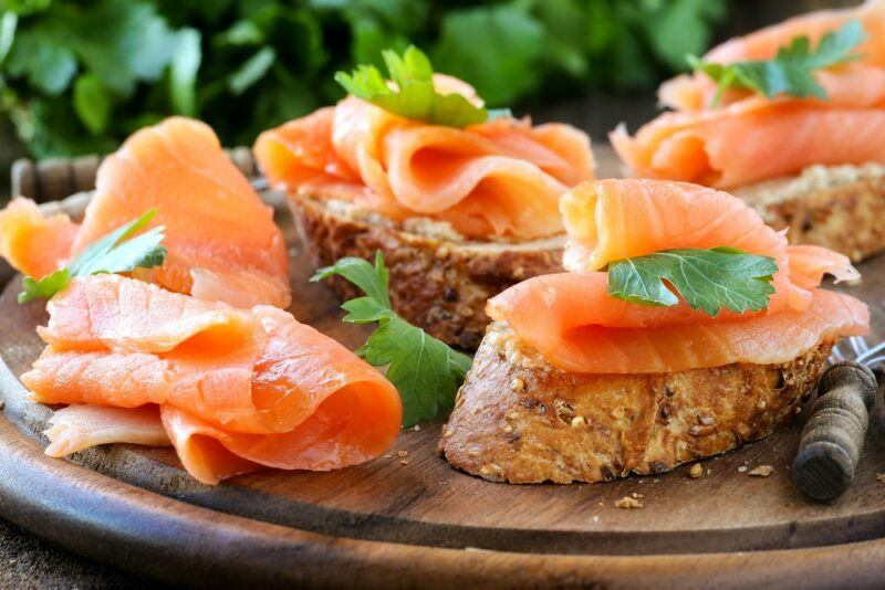 Pieces of toast with salmon