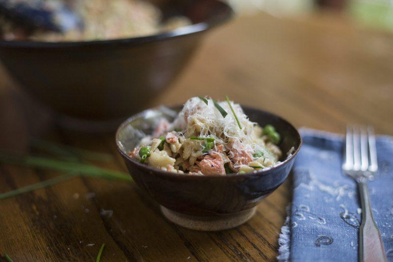 Creamy Corkscrew Pasta with Salmon and Peas