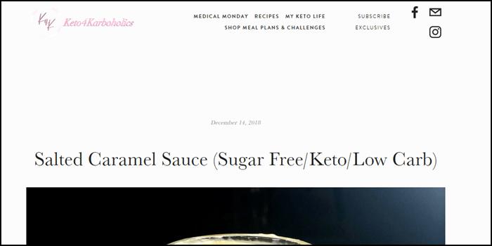 Website screenshot from keto4karboholics