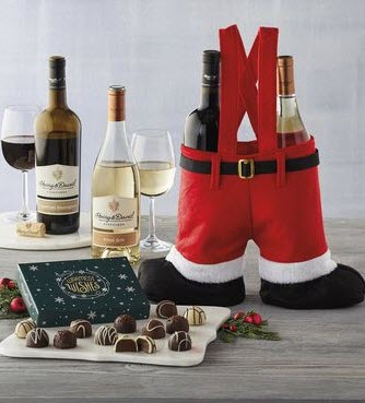 Pair of red pants with 2 bottles of wine and chocolates