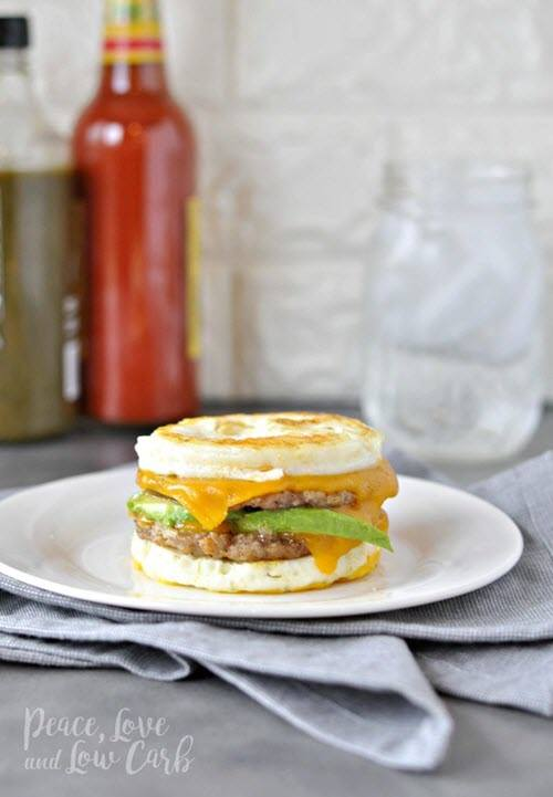 A low carb sandwich that looks just like a typical breakfast sandwich.