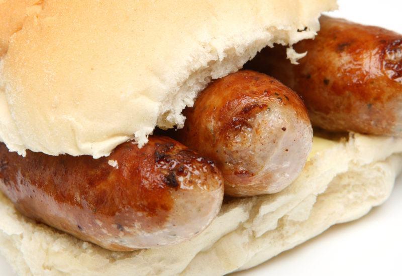 A bap containing various sausages