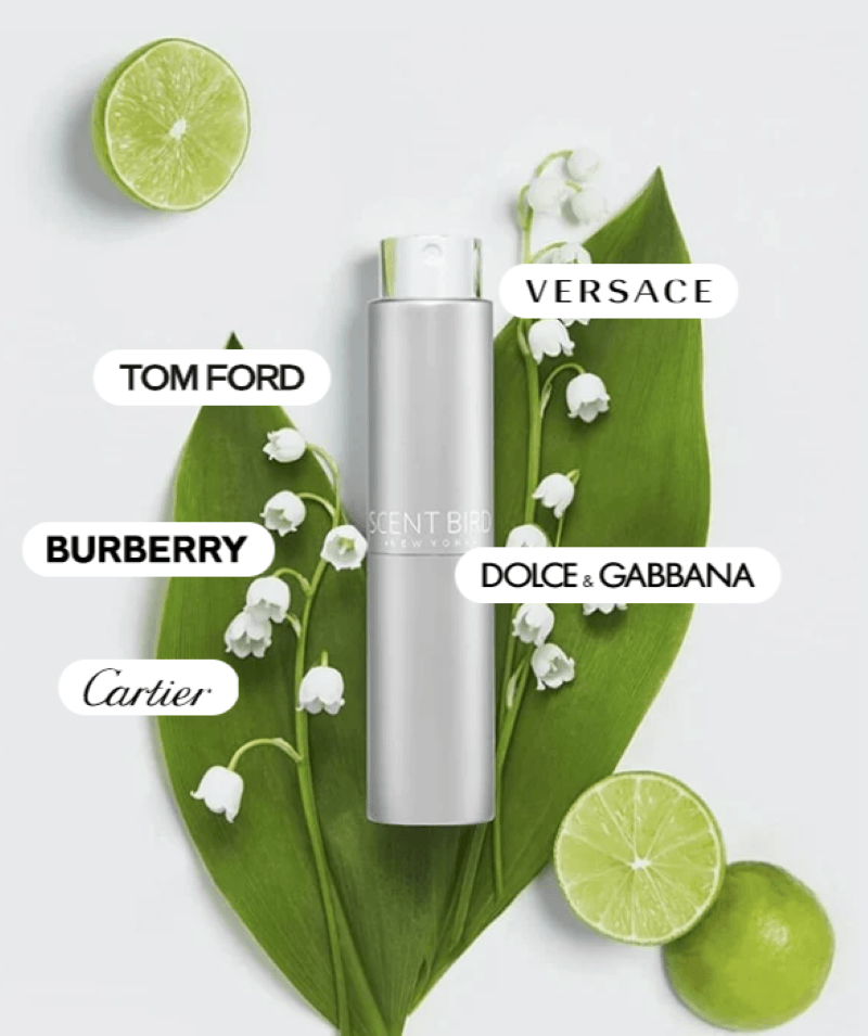 White background upper left corner a half of lime and lower right corner a full lime cut in half one half facing up and the other facing down.  In the middle are two large green leafs with white bell flowers, and in white bubbles with black font there are 5 names of fragrances Tom Ford, Versace, Burberry, Dolce and Gabbana, and cartier