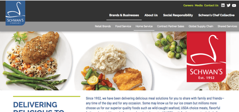 Schwan's meal delivery service with gluten free options website screenshot