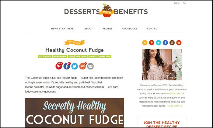 Website screenshot from Desserts with Benefits