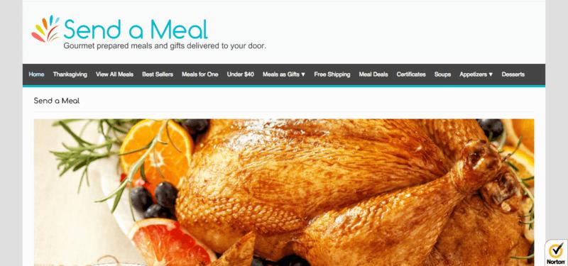 Send a Meal website screenshot showing a roast chicken