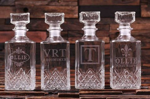 4 engraved decanters