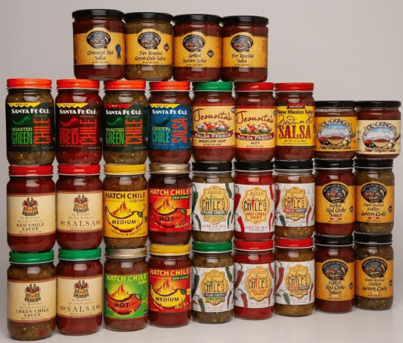4 rows of salsa stacked on one another for a total of 31 different varieties.