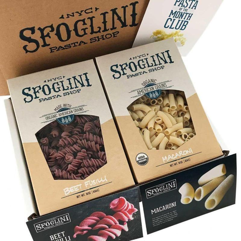 Sfoglini pasta shop pasta box featuring Beet fusilli and macaroni