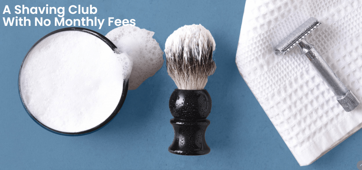 Shave cream set and towel with white letters stating A Shaving Club with no monthly fees