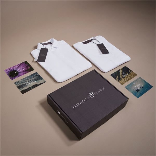 A box from Elizabeth & Clarke with two shirts and some cards