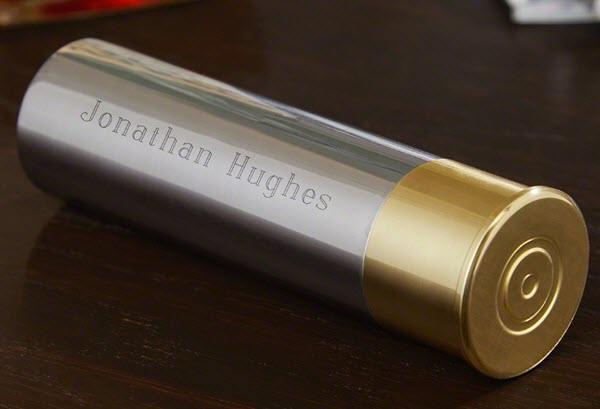 Flask shaped like a shotgun cartridge.