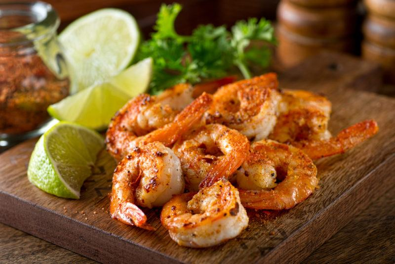 Cooked and seasoned shrimp on a table