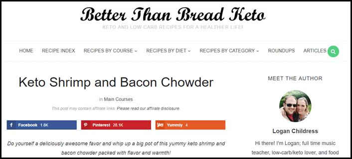 Website screenshot from Better than Bread Keto